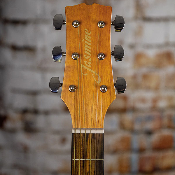 closeup of headstock of Jasmine S-35