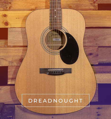 dreadnought body of Jasmine acoustic guitar